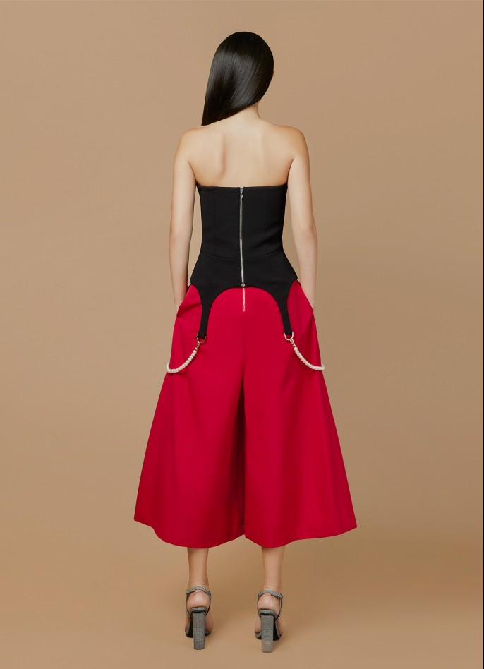 RED GROSGRAIN HIGH-WAISTED CULOTTES
