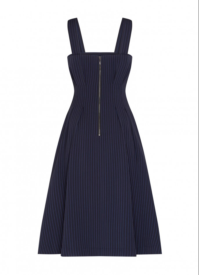 NAVY BLUE PINSTRIPE DRESS