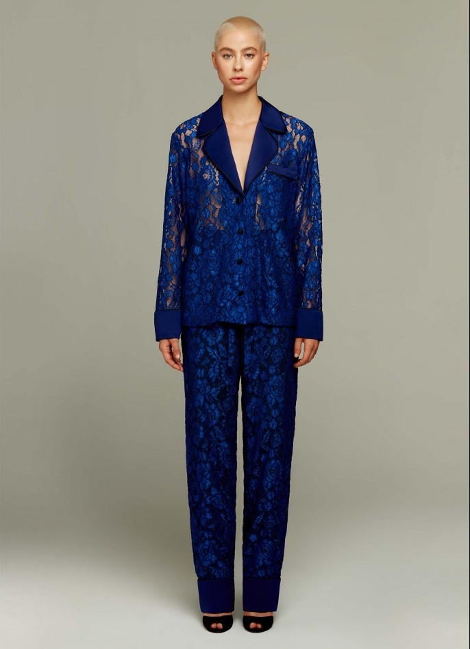 DARK BLUE LACE AND SATIN PANTS