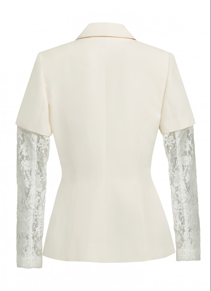 WHITE CREAM LACE AND GROSGRAIN BLAZER (PRE ORDER - AVAILABLE IN 10 DAYS)