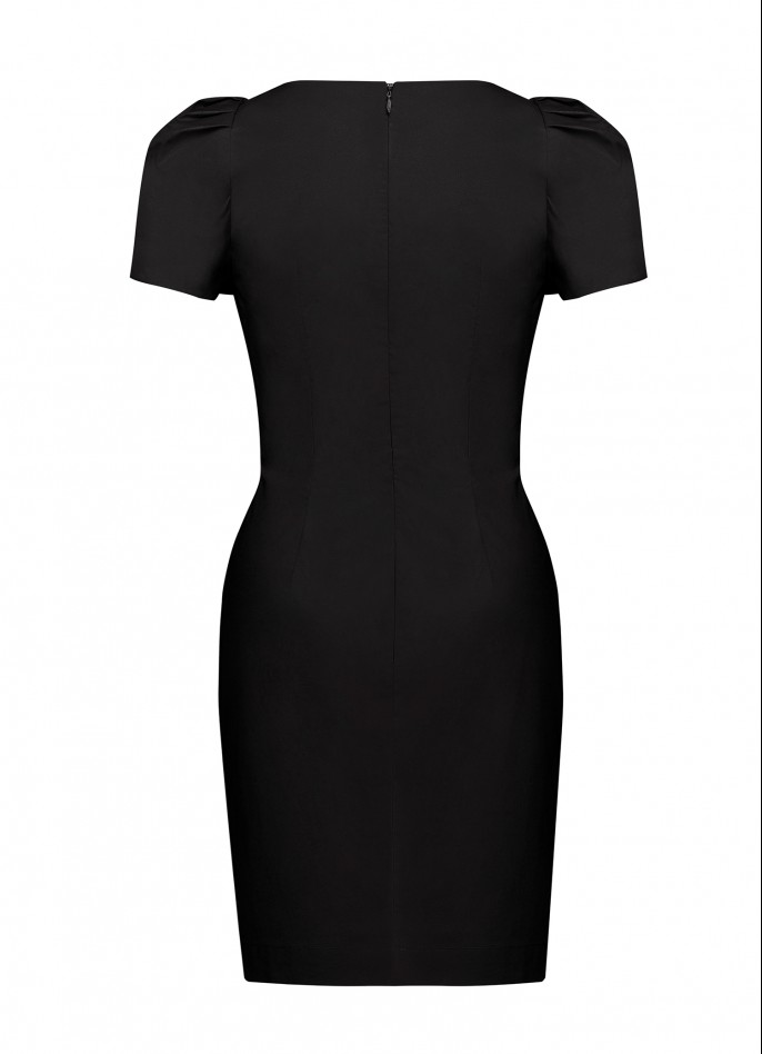 BLACK RUCHED COTTON POPLIN HIGH ZIP SLIT DRAPED DRESS