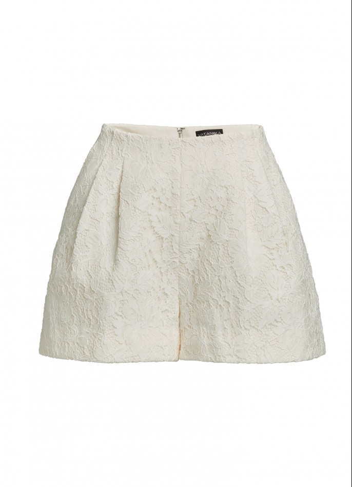 WHITE LACE AND GROSGRAIN SHORTS