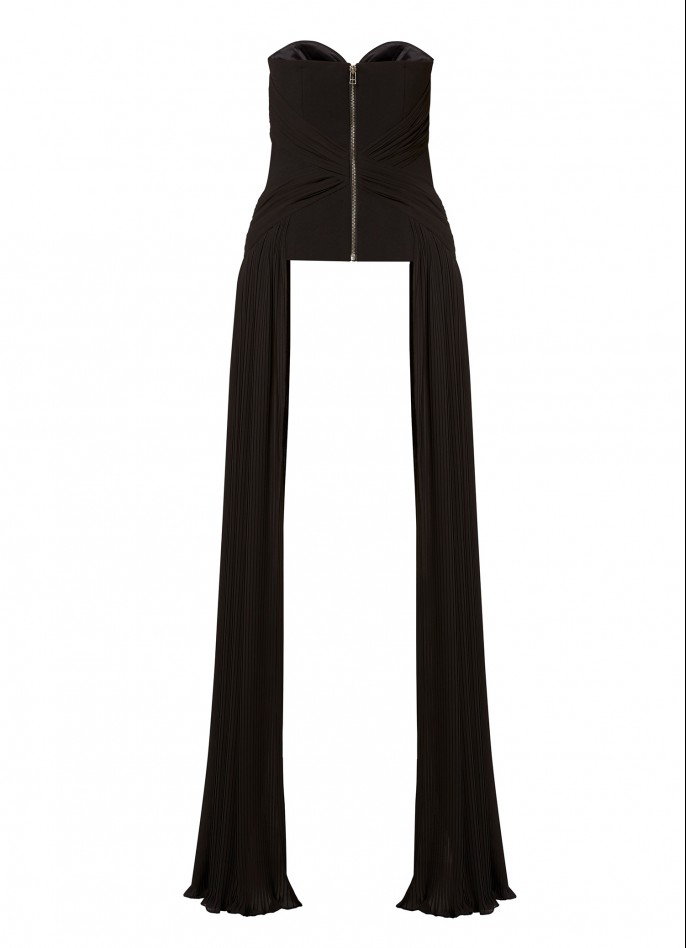 BLACK HAND-DRAPED PLEATED STRETCH CREPE AND CHIFFON TOP
