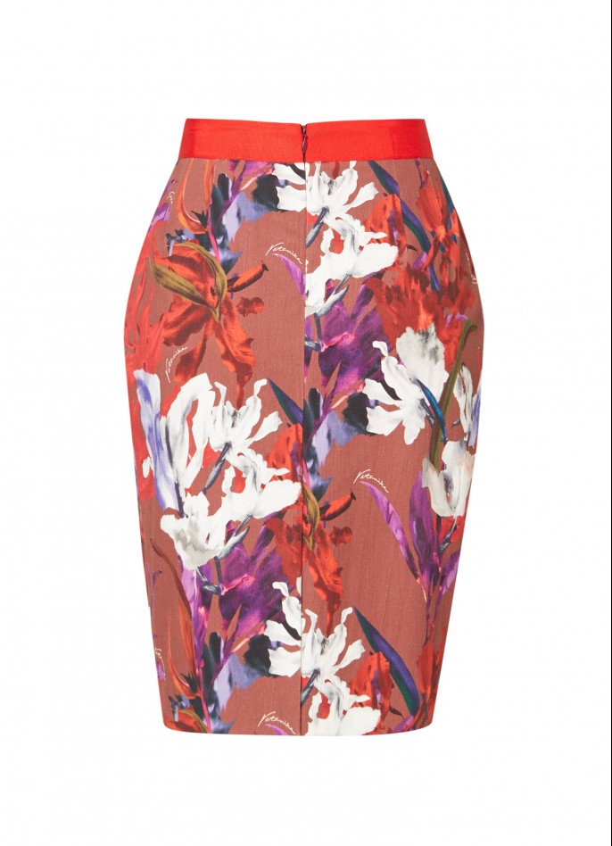 PRINTED COTTON-BLEND PENCIL SKIRT