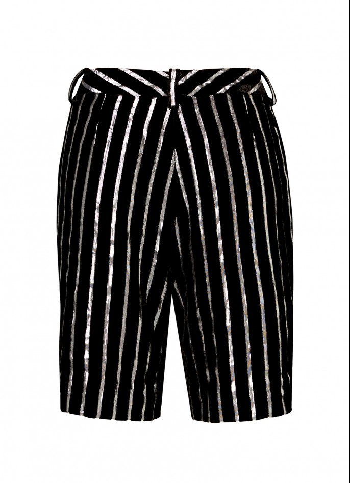 BLACK SILVER METALLIC PINSTRIPED VELVET BIKER SHORTS