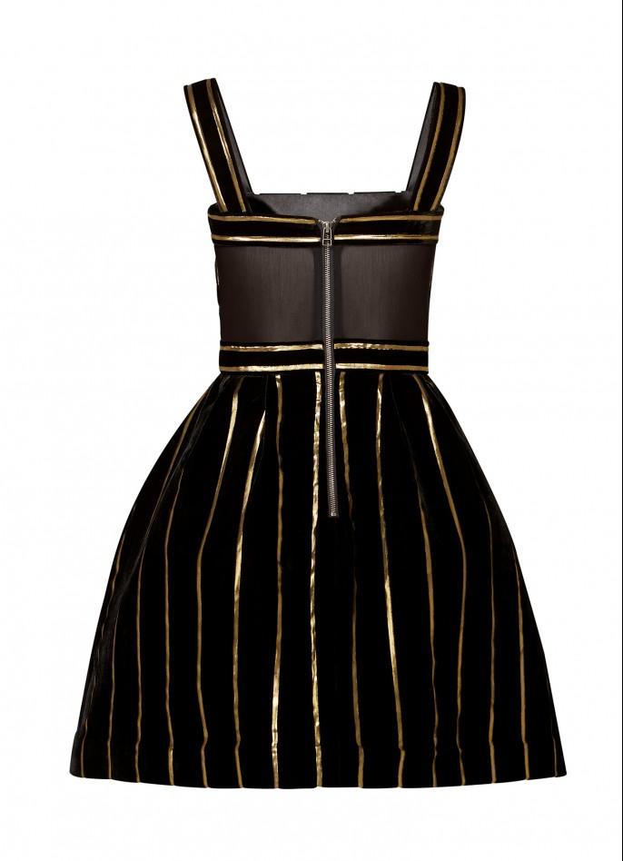 BLACK GOLD METALLIC PINSTRIPED VELVET AND MESH MINI DRESS
