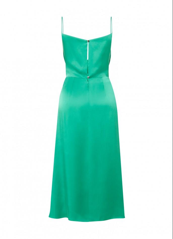 GREEN SILK SATIN DRAPED SLIT DRESS