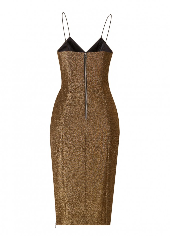 GOLD STRETCH METALLIC HIGH ZIP SLIT DRESS