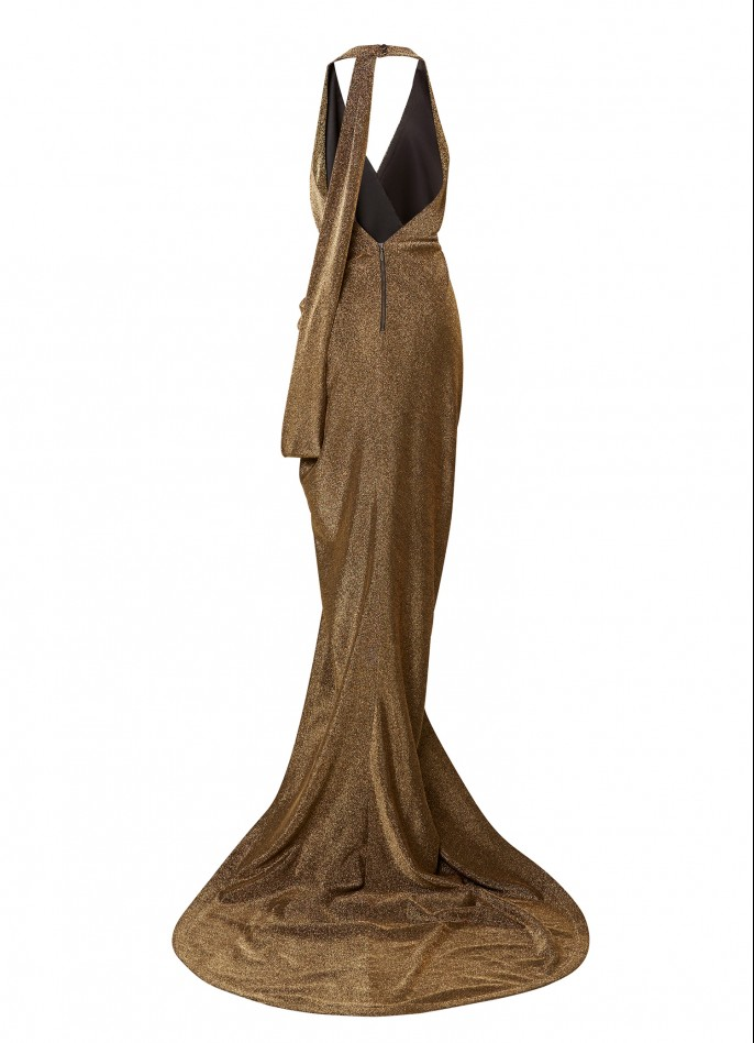 GOLD STRETCH METALLIC DRAPED BACKLESS DRESS