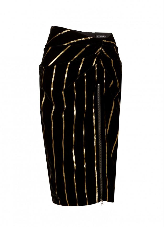 BLACK GOLD METALLIC PINSTRIPED VELVET DRAPED PENCIL SKIRT