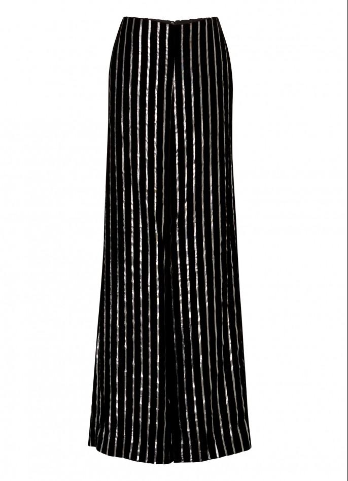 BLACK SILVER METALLIC PINSTRIPED VELVET FLARED PANTS