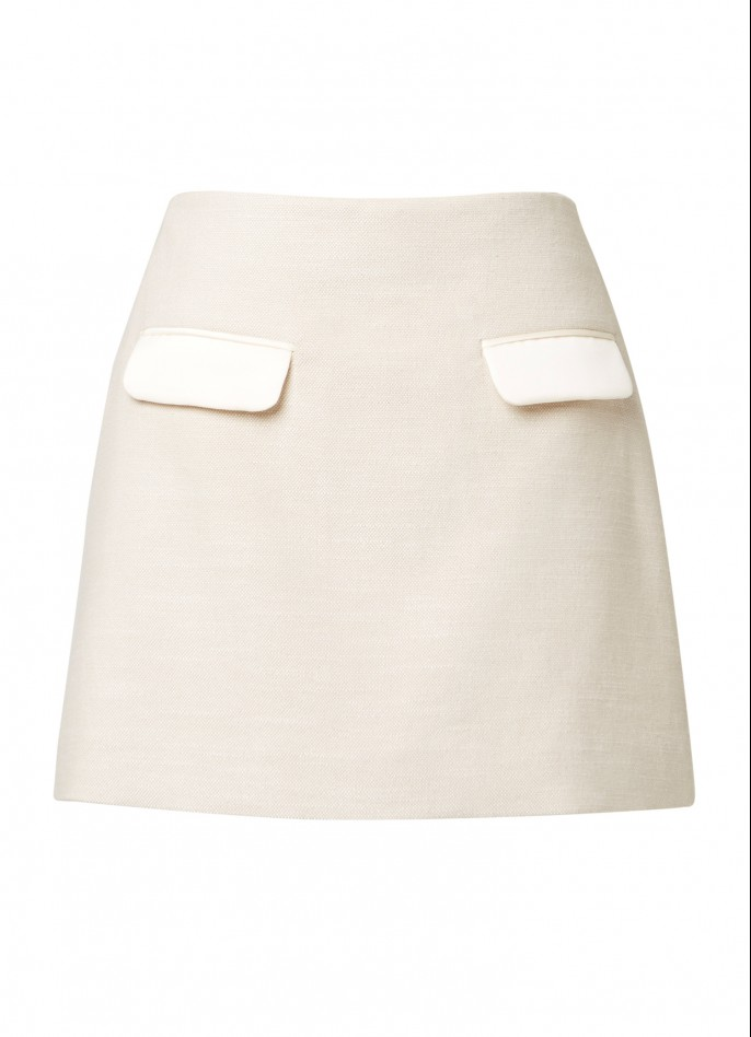 CREAM TWEED AND SATIN MINI SKIRT
