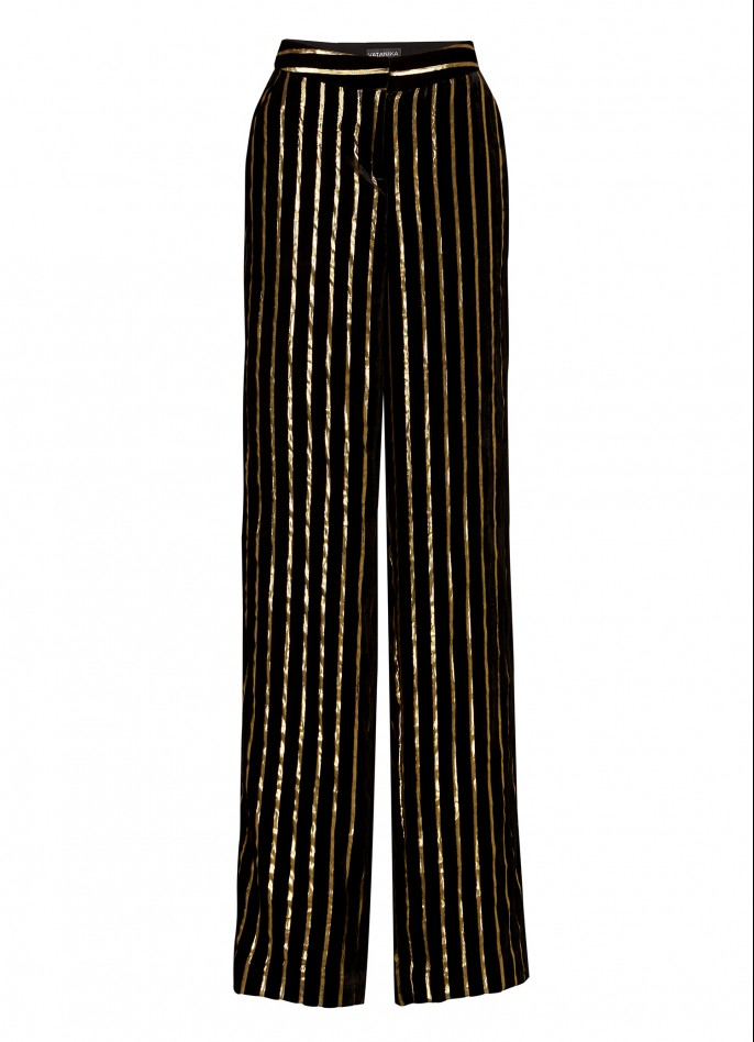 BLACK GOLD METALLIC PINSTRIPED VELVET PANTS