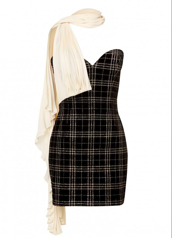 BLACK GLITTER-CHECKED VELVET PLEATED ONE-SHOULDER MINI DRESS