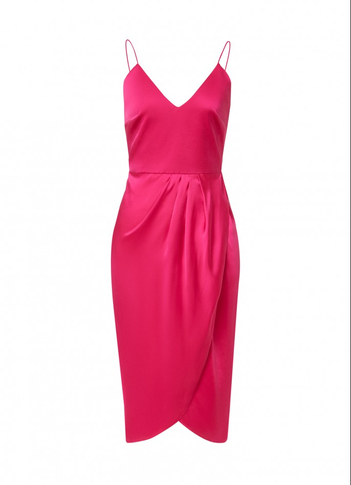 MAGENTA SILK SATIN DRAPED BACKLESS DRESS