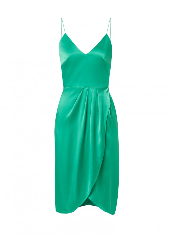GREEN SILK SATIN DRAPED BACKLESS DRESS