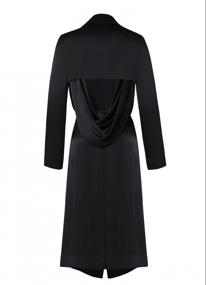 BLACK DRAPED SATIN BACKLESS TRENCH COAT  (PRE ORDER - AVAILABLE IN 10 DAYS)