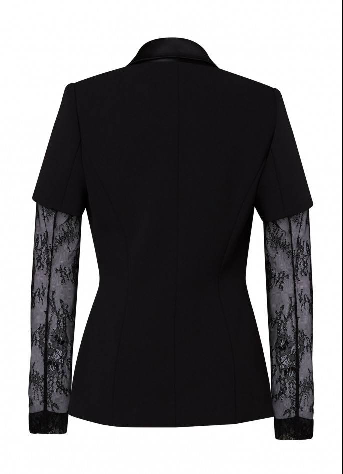 BLACK CREPE BLEND AND LACE BLAZER  (PRE ORDER - AVAILABLE IN 10 DAYS)