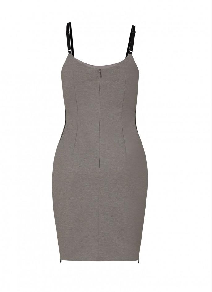 GREY RAYON BLEND HIGH ZIP SLIT DRESS