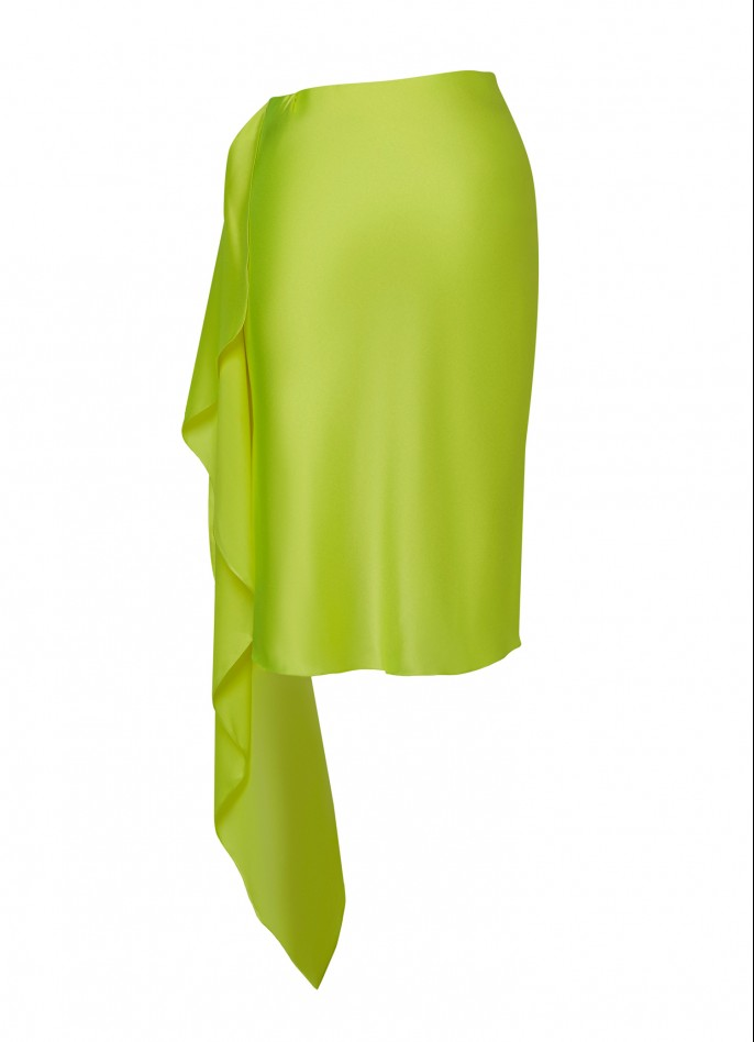 NEON YELLOW DRAPED SILK SATIN MINI SKIRT  (PRE ORDER - AVAILABLE IN 10 DAYS)
