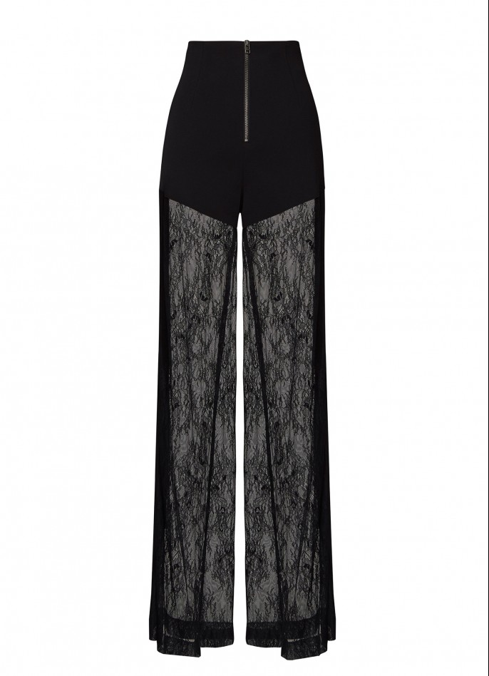 BLACK CREPE BLEND AND LACE PANTS