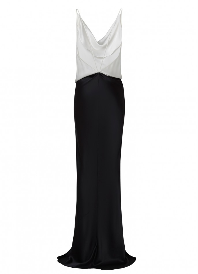 WHITE BLACK SILK SATIN BACKLESS GOWN  (PRE ORDER - AVAILABLE IN 10 DAYS)