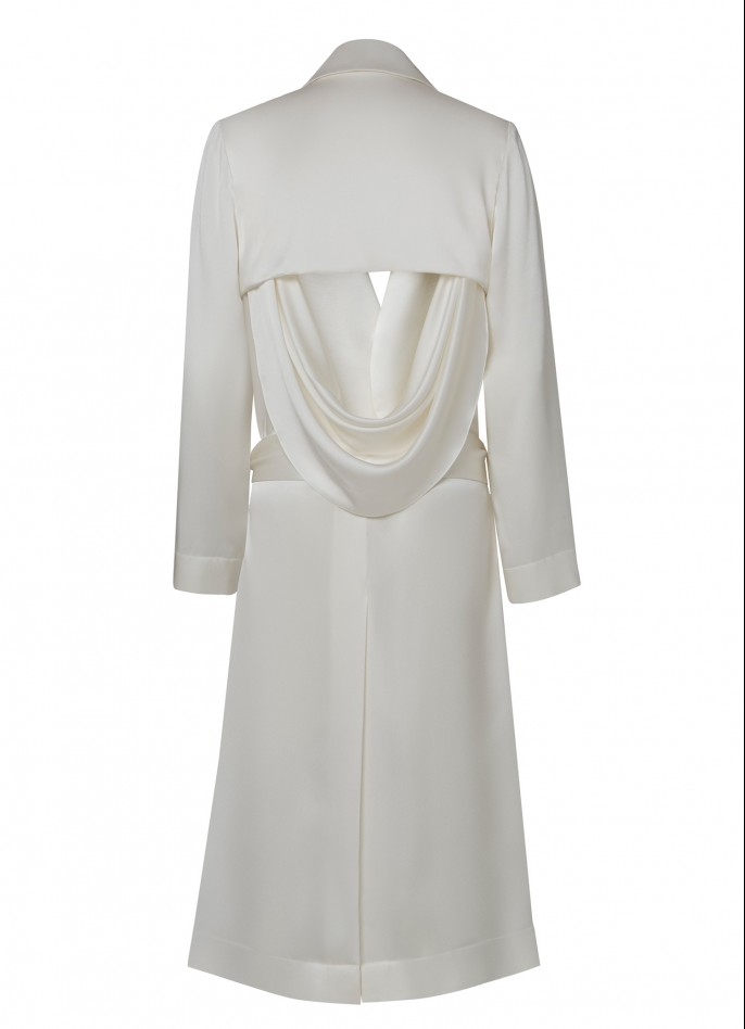 WHITE DRAPED SATIN BACKLESS TRENCH COAT  (PRE ORDER - AVAILABLE IN 10 DAYS)