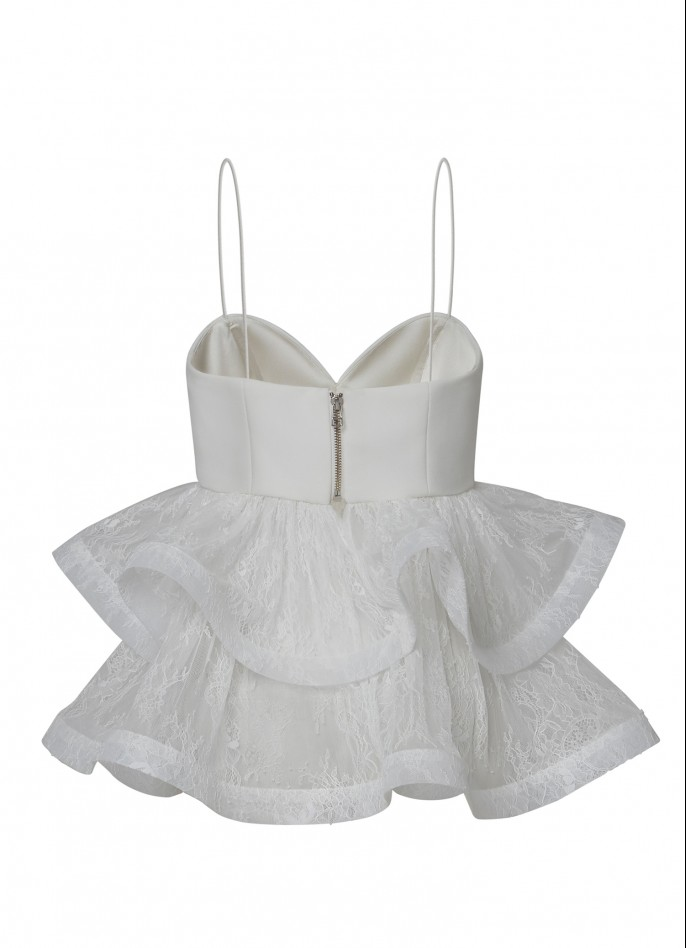 WHITE CREPE BLEND AND LACE RUFFLE TOP