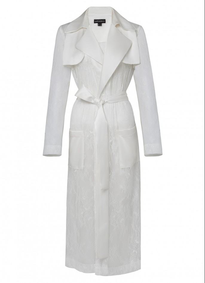 WHITE SATIN AND LACE TRENCH COAT