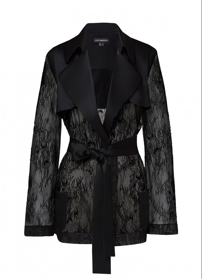 BLACK SATIN AND LACE JACKET