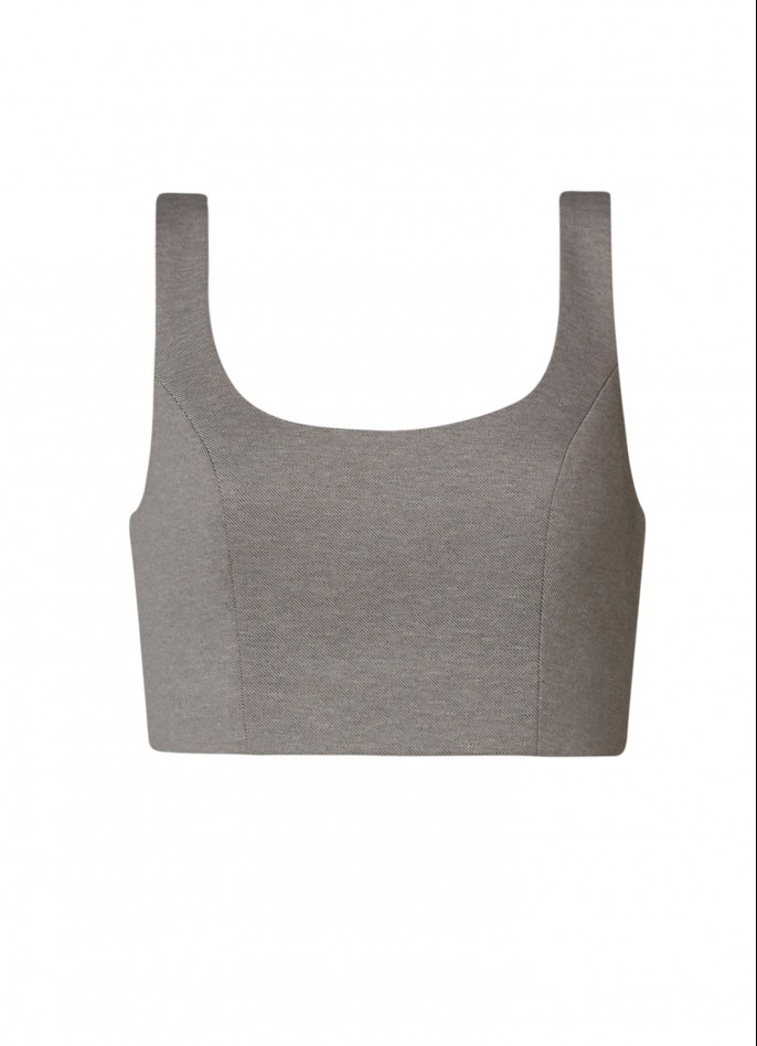 GREY RAYON BLEND CROP TOP
