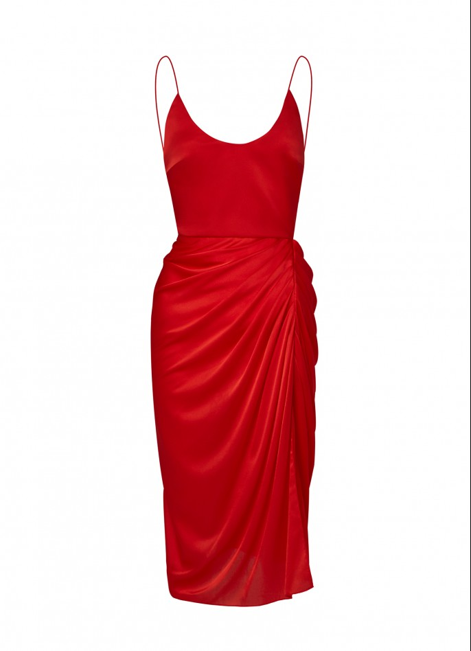 RED DRAPED SILK SATIN BACKLESS DRESS