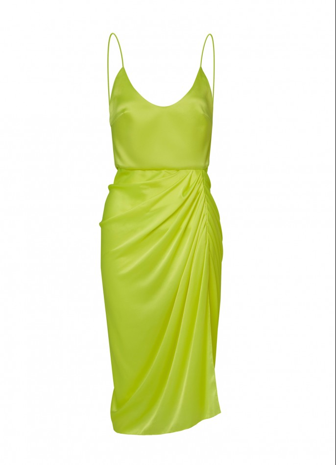 NEON YELLOW DRAPED SILK SATIN BACKLESS DRESS  (PRE ORDER - AVAILABLE IN 10 DAYS)