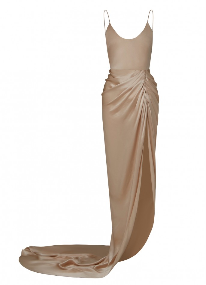 BEIGE DRAPED SILK SATIN BACKLESS HIGH SLIT GOWN  (PRE ORDER - AVAILABLE IN 10 DAYS)
