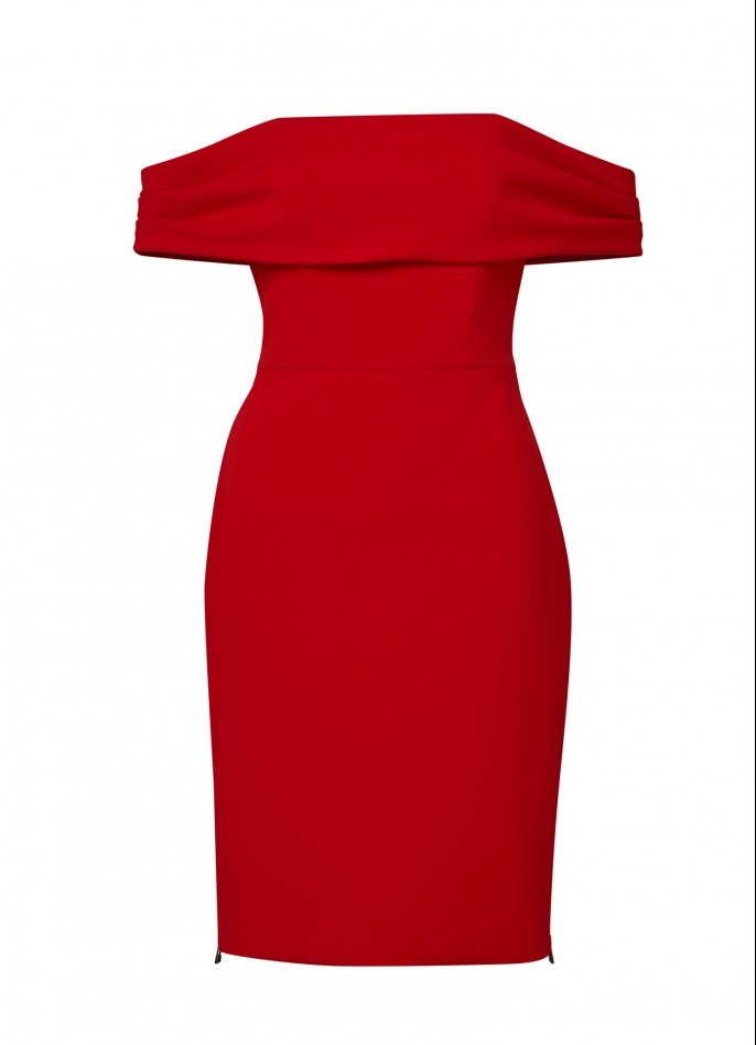 RED DRAPED CREPE BLEND HIGH ZIP SLIT OFF-SHOULDER DRESS