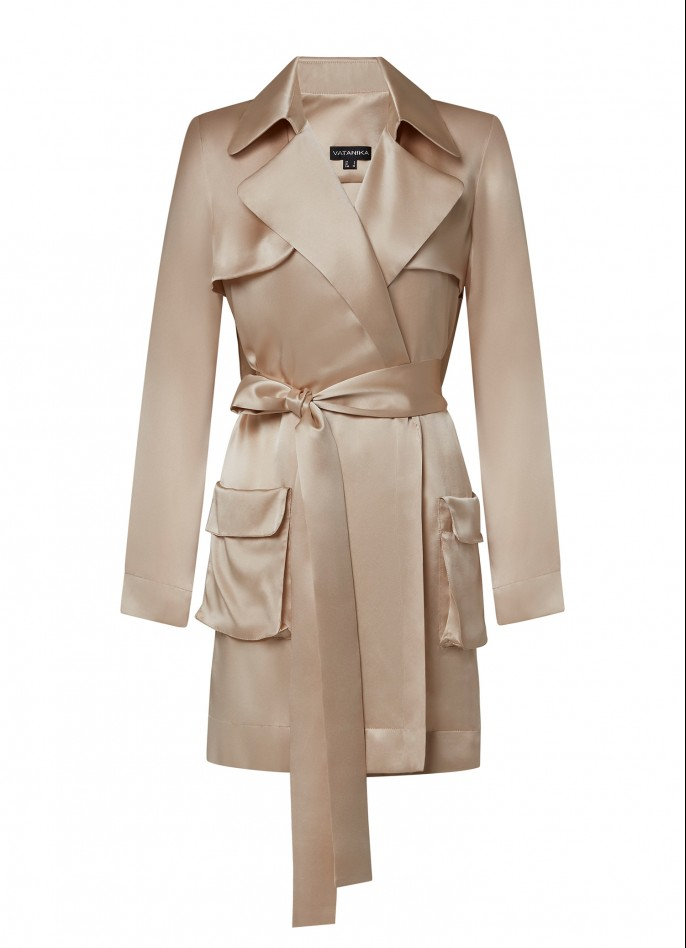 BEIGE DRAPED SATIN BACKLESS TRENCH DRESS  (PRE ORDER - AVAILABLE IN 10 DAYS)