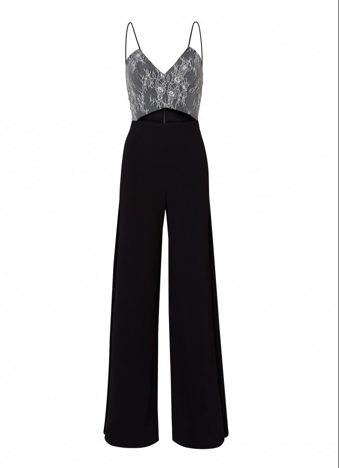 WHITE BLACK HAND-EMBROIDERED LACE AND CREPE BLEND CUTOUT JUMPSUIT
