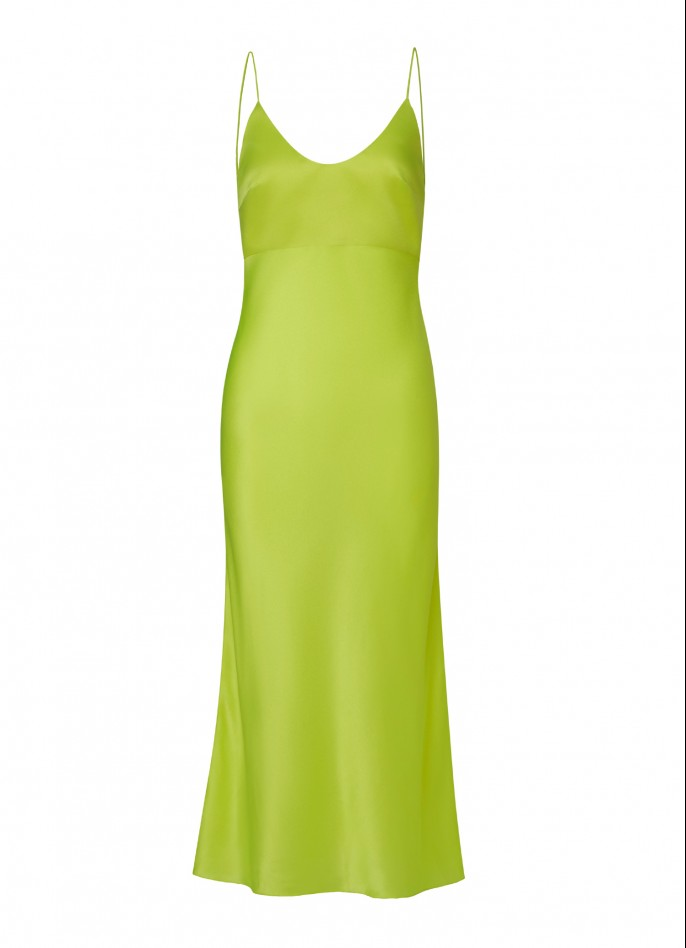 NEON YELLOW SILK SATIN BACKLESS MIDI DRESS  (PRE ORDER - AVAILABLE IN 10 DAYS)