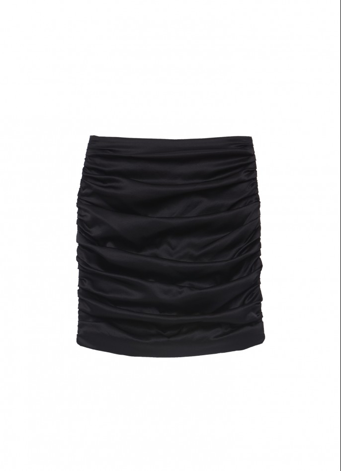 BLACK STRETCH SILK SATIN MINI SKIRT