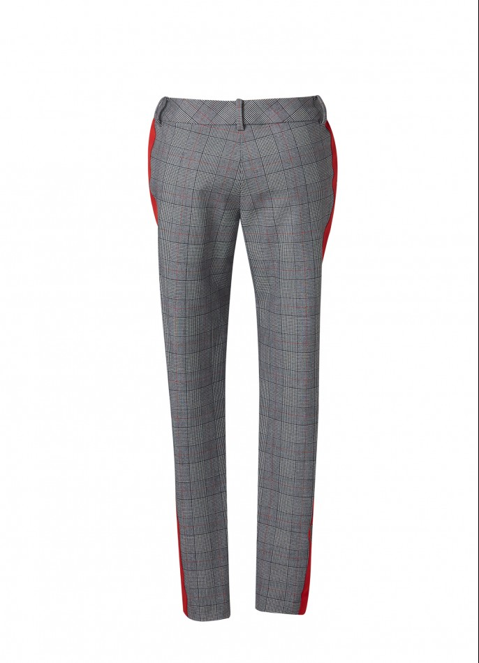 GREY STRIPED CHECKED STRAIGHT-LEG PANTS