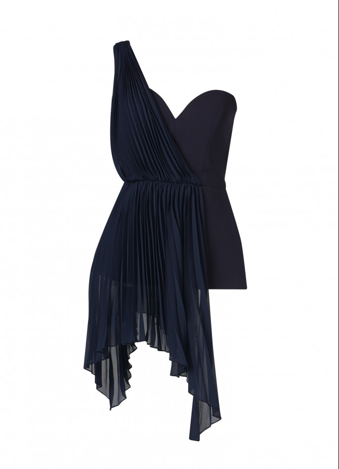 DARK BLUE CREPE BLEND AND PLEATED CHIFFON ONE SHOULDER TOP