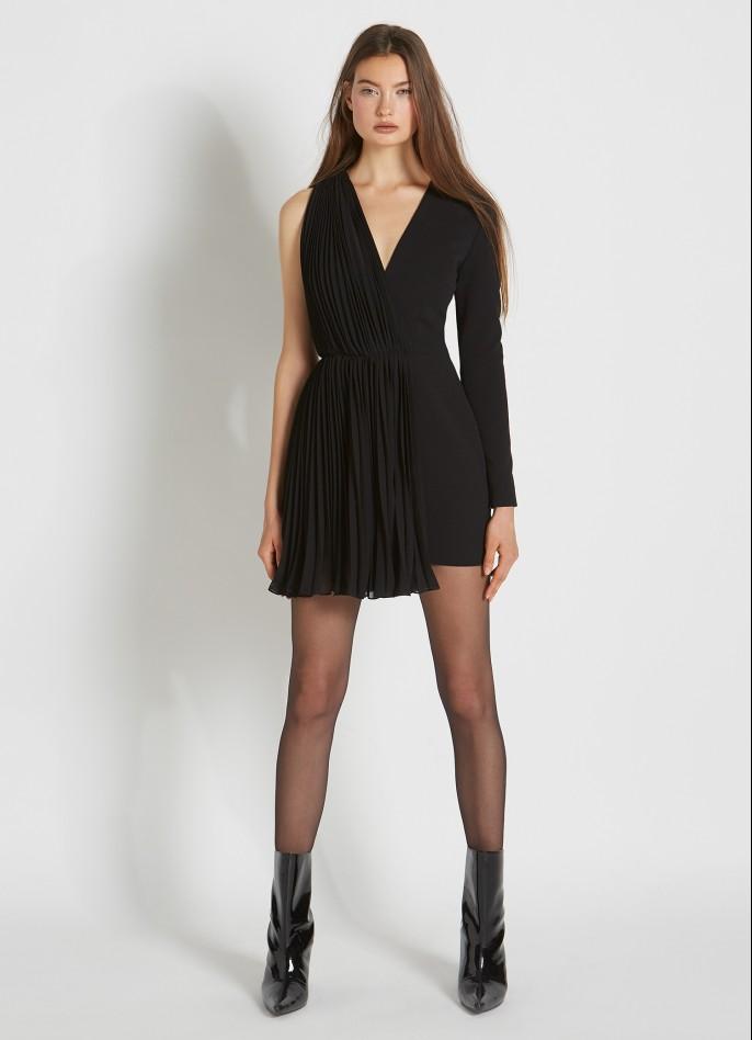 BLACK CREPE BLEND AND PLEATED CHIFFON MINI DRESS