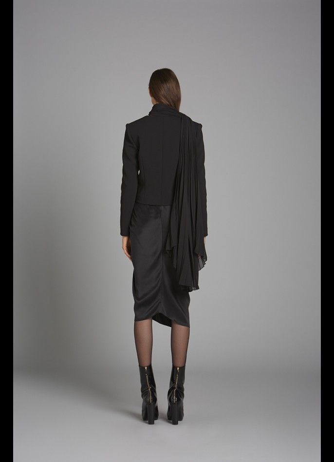 BLACK CREPE BLEND AND PLEATED CHIFFON JACKET