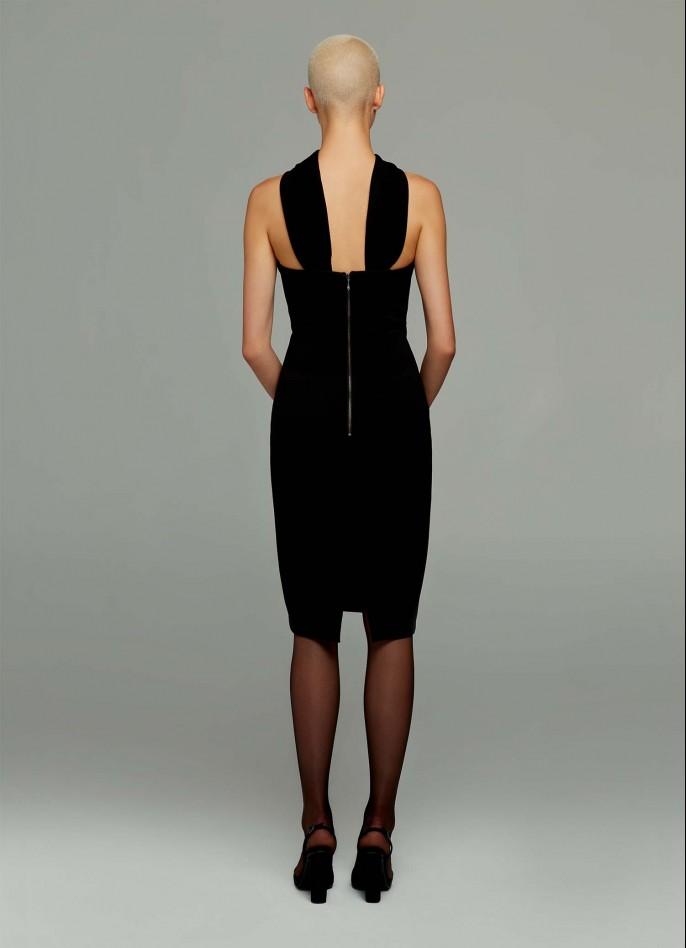 BLACK STRETCH CREPE HALTER NECK DRESS