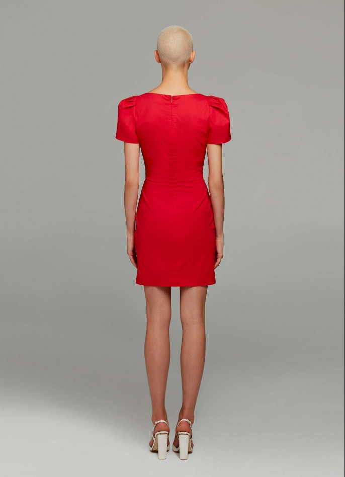 RED RUCHED COTTON POPLIN HIGH ZIP SLIT DRAPED DRESS