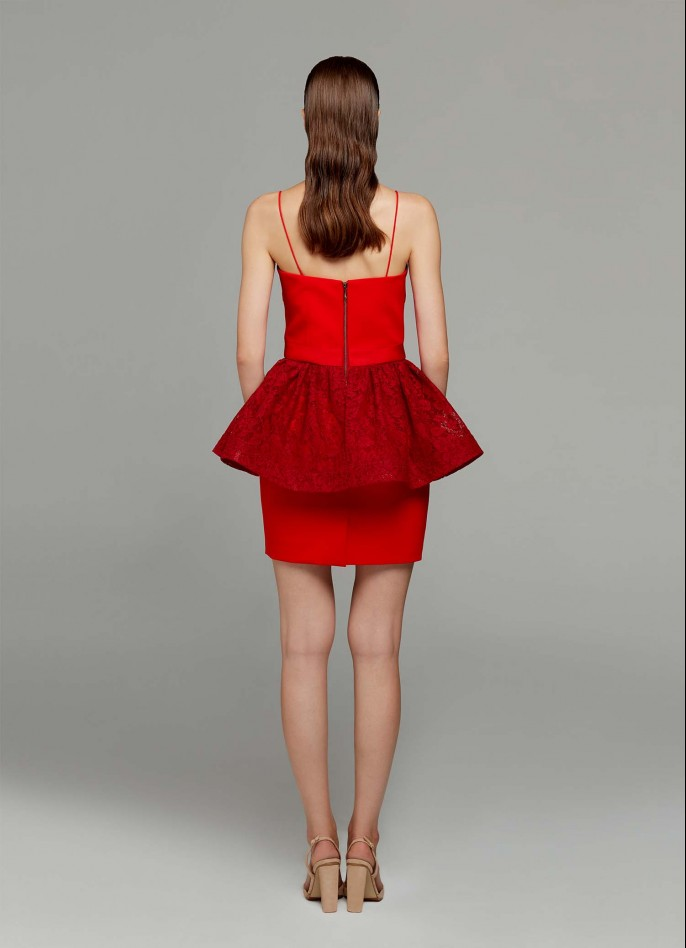 RED LACE AND STRETCH CREPE MINI DRESS (PRE ORDER - AVAILABLE IN 10 DAYS)
