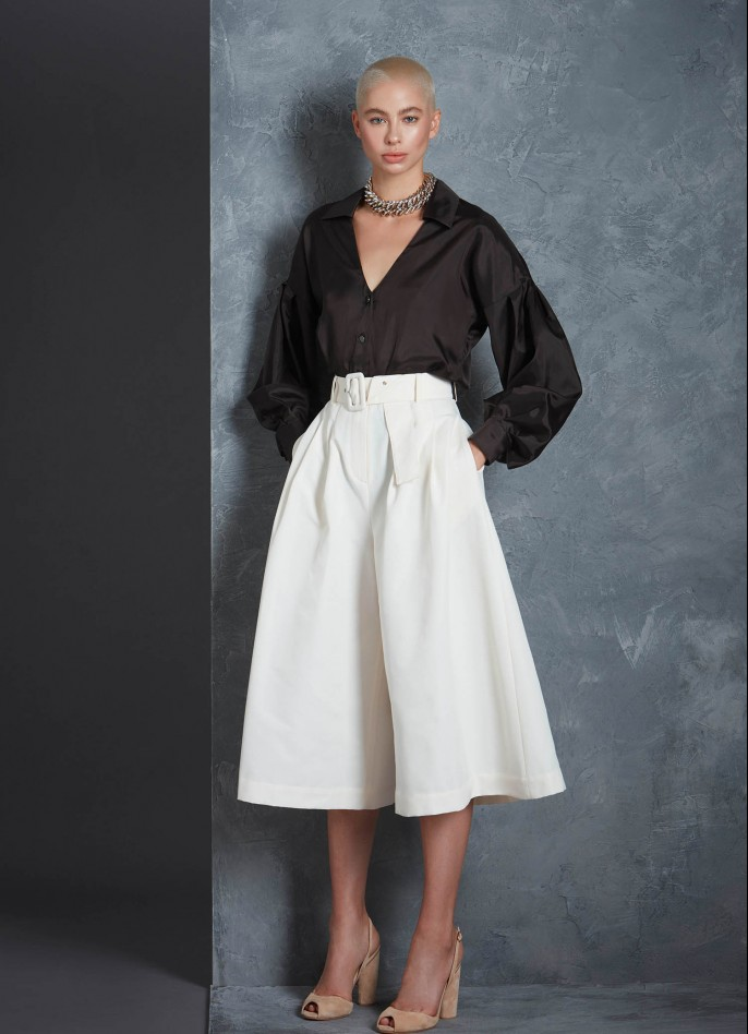 CREAM HIGH WAISTED GROSGRAIN BELTED CULOTTES