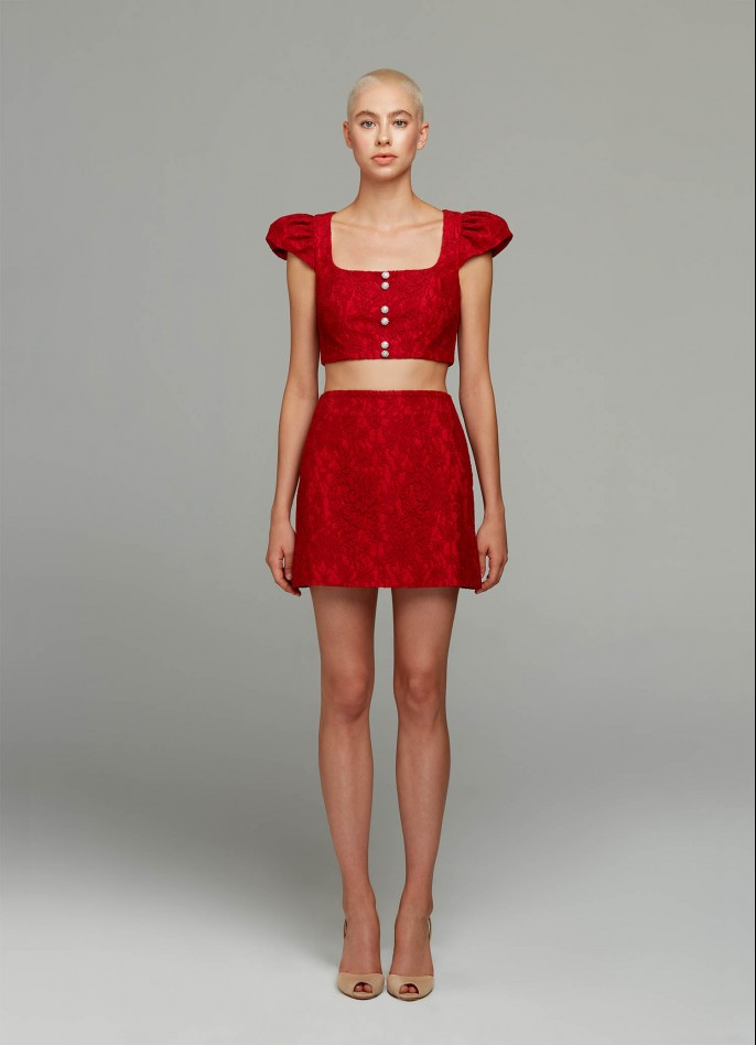 RED LACE AND COTTON POPLIN MINI SKIRT