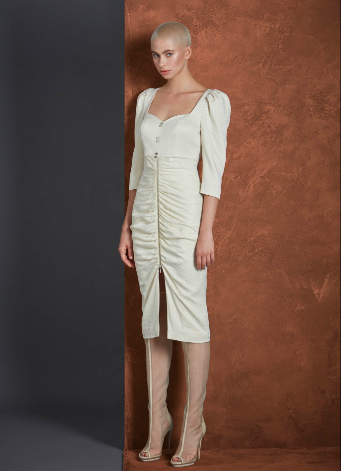 CREAM CUPRO JACQUARD DRAPED MIDI DRESS