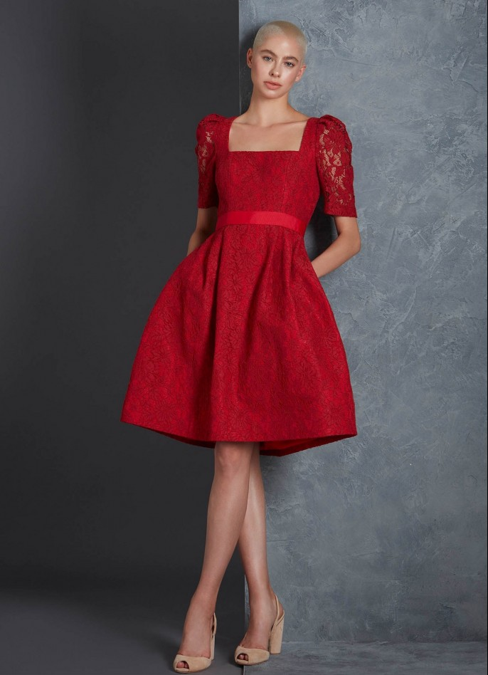 RED LACE AND GROSGRAIN DRESS